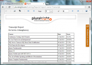 Online Transcript Report